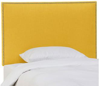 One Kings Lane Loren Kids' Headboard - Mustard Linen - upholstery, yellow; nailheads, silver