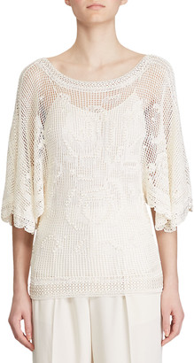 Ralph Lauren Crocheted Bateau-Neck Top