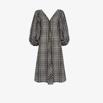 Ganni Checked Cotton Midi Dress