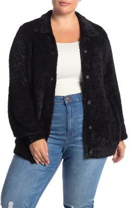 Susina Teddy Faux Fur Cardigan (Plus Size)