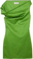 Balenciaga Asymmetric Satin Mini Dress - Green