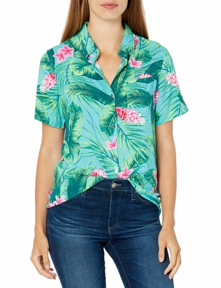28 Palms Amazon Brand Women's 100% Rayon Hawaiian Aloha Blouse Shirt