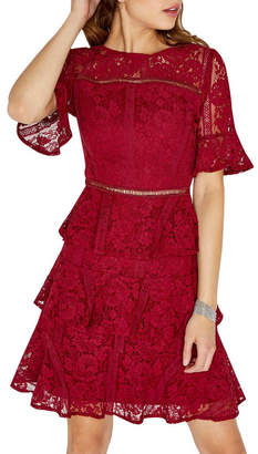 Girls On Film Lace Tiered Short Sleeve Dress