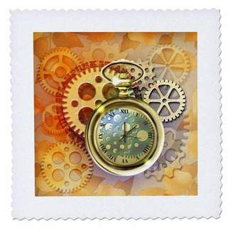 3drose 3dRose A Steampunk theme with metal cogs, gears and a lovely golden pocket watch. - Quilt Square, 14 by 14-inch