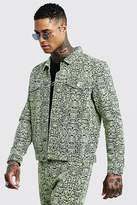 BoohooMAN Neon Snake Denim Jacket