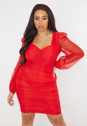 Missguided Plus Size Red Mesh Ruched Mini Dress