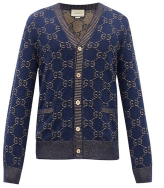 Gucci V-neck Gg Logo-jacquard Cotton Cardigan - Blue