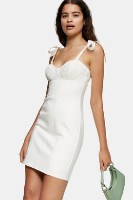 Topshop Cream Poplin Tie Bodycon Mini Dress