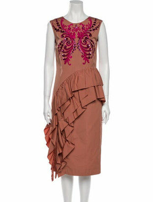 Dries Van Noten Printed Midi Length Dress Pink