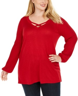 JM Collection Plus Size Crisscross-Neck Sweater, Created for Macy's
