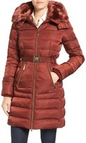 Vince Camuto Belted Faux Fur Collar Quilted Coat with Detachable Hood