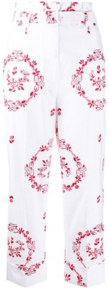 Simone Rocha White And Red Embroidered Pants