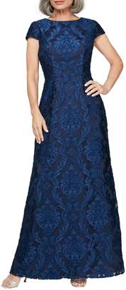 Alex Evenings Brocade A-Line Gown