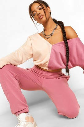 boohoo Colourblock V Neck Crop Hoody