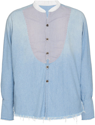 Greg Lauren Two-Tone Cotton Button-Up Shirt