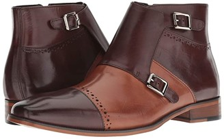 Stacy Adams Kason Cap Toe Double Monkstrap Boot (Brown/Saddle Tan) Men's Lace Up Cap Toe Shoes