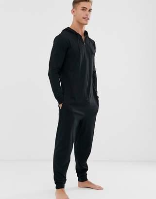 Asos Design DESIGN hooded lounge onesie in black