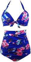 Ebuddy Women Vintage High Waist Retro Bikini Swimsuit Swimwear,-XXL