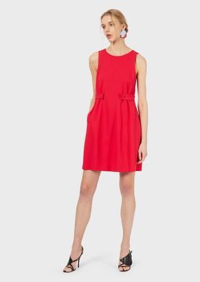 Emporio Armani Stretch Grain De Poudre Dress With Straps