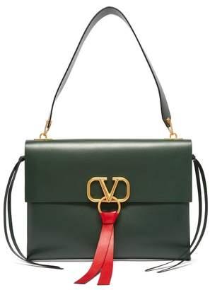 Valentino V-ring Leather Shoulder Bag - Womens - Dark Green