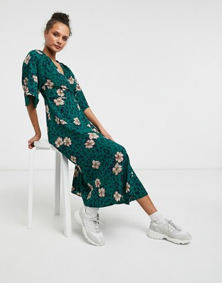 Liquorish kimono sleeve wrap midi dress in green animal and floral print
