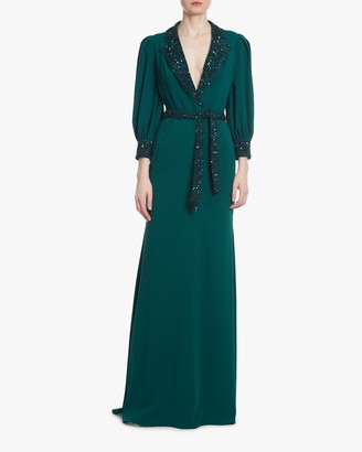 Badgley Mischka Dark Emerald Sequin Faux-Wrap Dress