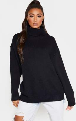 PrettyLittleThing Black High Neck Fluffy Knit Jumper