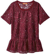 Joe Fresh Women's Peplum Tee, Burgundy (Size M)