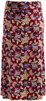 Glam Burgundy Floral Fold-Over Maxi Skirt - Plus