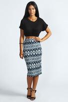 Boohoo Leila Aztec Print Midi Tube Skirt