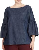 Lauren Ralph Lauren Plus Denim Cotton Bell Sleeve Shirt