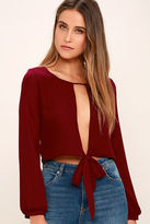 LuLu*s Hanging by a Moment Wine Red Long Sleeve Crop Top