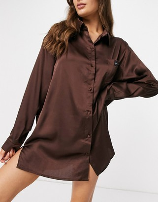 Public Desire relaxed satin night shirt with embroidered pocket in chocolate