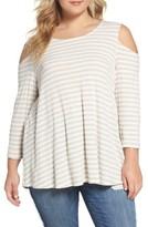 Bobeau Plus Size Women's Stripe Rib Knit Cold Shoulder Top
