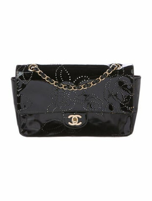 Chanel Perforated Camellia Flap Bag Black