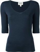 Armani Collezioni scoop neck top - women - viscose/Spandex/Elastane - 38