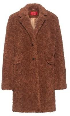 HUGO BOSS Button-through coat in teddy fabric