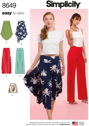 Simplicity Women's Skirt and Trousers Sewing Pattern, 8649