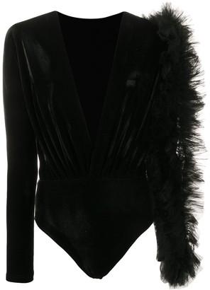 Alchemy Lia tulle embellished bodysuit blouse