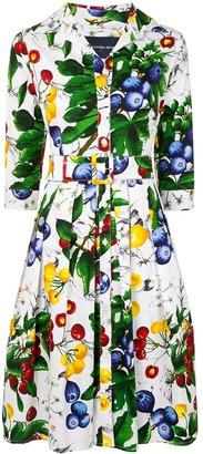 Samantha Sung Fruit-Print Belted Dress