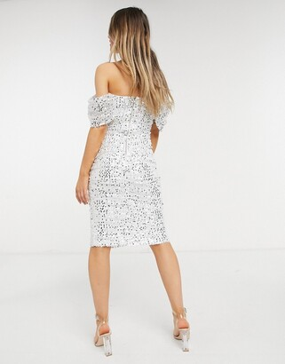 Forever U ruched midi dress in sequin in ivory and gold