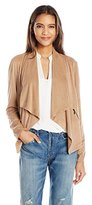 A|X Armani Exchange Women's Suede Throw One Zip Detail Jersey Blazer