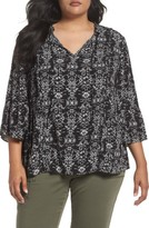Plus Size Women's Caslon Bell Sleeve Print Blouse