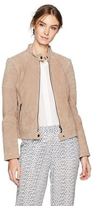 Bagatelle Women's Suede Quilted Moto Jacket