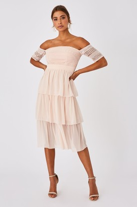Little Mistress Mariska Nude Crochet Lace Tiered Midi Dress