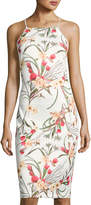Neiman Marcus Floral-Print Body-Con Scuba Dress, White/Multi