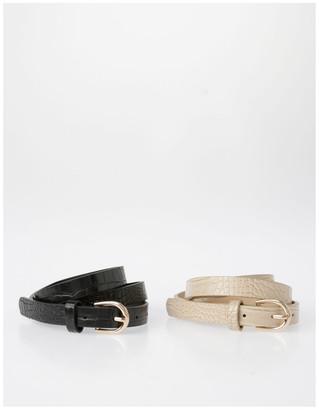 Miss Shop Skinny Croc with Gold Buckle Belt Black XS-S