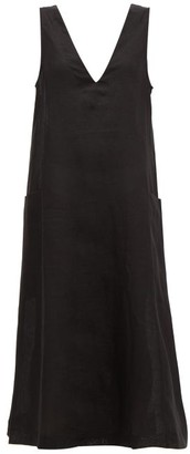 ASCENO Seville V-neck Linen Midi Dress - Black