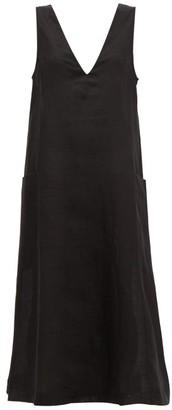 ASCENO Seville V-neck Linen Midi Dress - Womens - Black