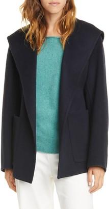 Vince Hooded Tie Waist Wool & Cashmere Coat